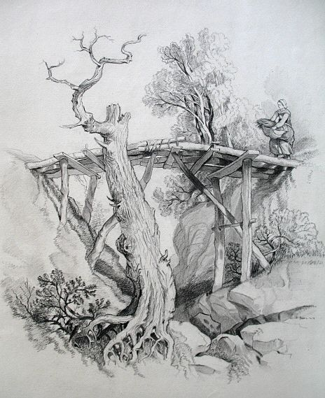 Antique 19th C Century French CHARCOAL Landscape Drawing Woman On Bridge MAGNIFICENT!