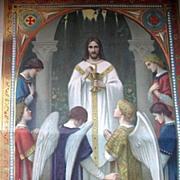Antique French Art NOUVEAU Communion Certificate Print Litho JESUS with ANGELS Exquisite!