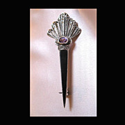 Vintage SCOTTISH Celtic Pin Brooch LARGE Sterling Silver ONYX Amethyst Marcasites  TO DIE FOR