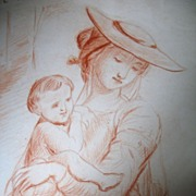 Antique Drawing 18th C Century French Georgian Regency LARGE Mother And Children DIVINE!