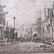 Antique 19th C Century Chinese Print Engraving BEIJING Street in 1867 Signed RARE!