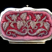 REDUCED VALENTINE! Antique 19th C Century French Napoleon III Embroidered/Metallic Embroidery