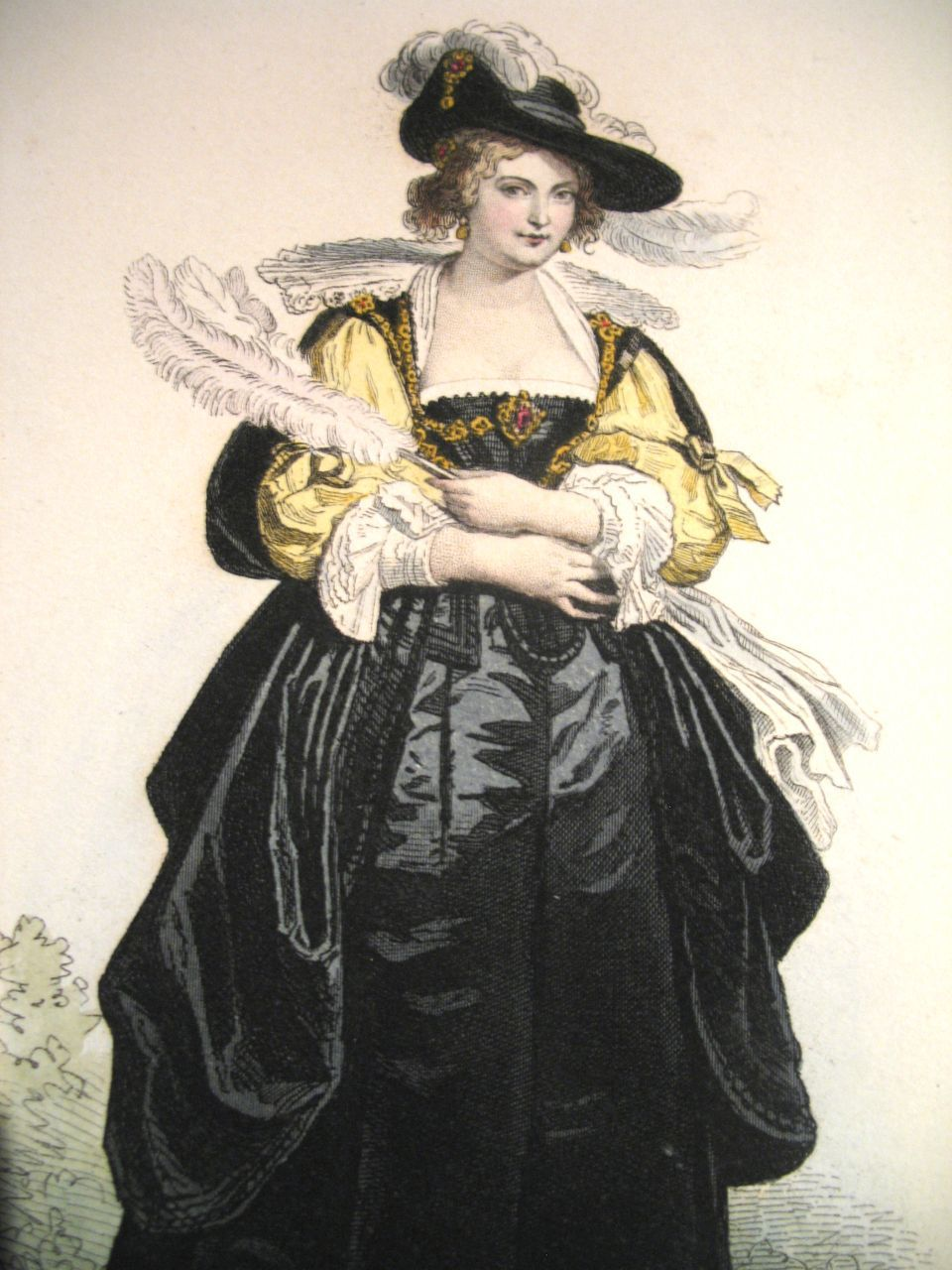 Antique FRENCH Print with Watercolor After RUBENS RENAISSANCE Lady 19th C Century Signed BEAUTIFUL!
