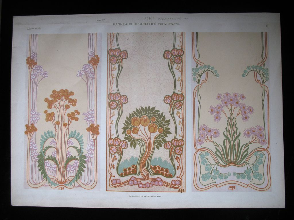 Antique Art NOUVEAU Print Lithograph 19th C French SIGNED BREATHTAKING Panels