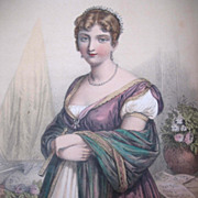 Antique French EMPIRE Napoleon Print With Watercolor Portrait of Hortense De Beauharnais 19th C  Century Signed EXQUISITE