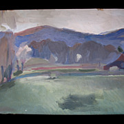 Vintage 30s French Modernist Semi ABSTRACT Landscape Painting FABULOUS!