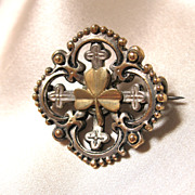 REDUCED Antique Victorian Pin Brooch French Napoleon III FLEUR de Lis SHAMROCKS 19th C Century