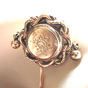 REDUCED Antique LARGE French Stickpin w Dangles Napoleon III  19th C Century Gold Filled TO DI