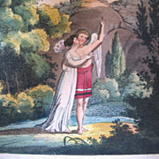 SOLD Antique 19th C Century GEORGIAN Miniature Print Engraving ANGELS in Garden TO DIE FOR!