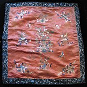 Antique CHINESE Embroidery Qing Wedding 19th C Century Embroidered Red Silk DIVINE