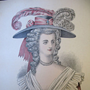 Antique French Print Lithograph Watercolor 19th C Century Louis XVI Marie Antoinette Portrait