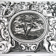 Antique LISTED Baroque French Print Louis XIV PUTTI Griffins Landscape 19th C Century FABULOUS!