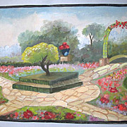Vintage 20s ART DECO Watercolor Painting French GARDENS Dated STUNNING!
