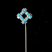 REDUCED Antique French Edwardian Stickpin Silver Stick pin BEAUTIFUL TURQUOISES!