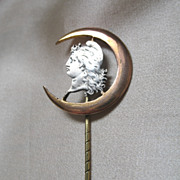 REDUCED Antique French Victorian Stickpin Stick Pin WOMAN in MOON Crescent  Men Women Rolled G