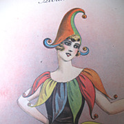 Vintage 20s French Art DECO Print Litho LADY in Harlequin Costume STUNNING!