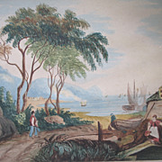 Antique Victorian ITALIAN Watercolor Painting Coastal Village Landscape 19th C Century VERY Po