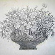 Antique French Victorian Drawing Floral Bouquet Flowers 19th C Century AMAZING!