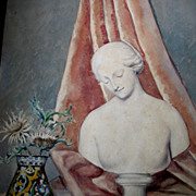 SOLD Vintage French Art DECO Painting 30s Watercolor Strong MAGRITTE Feel Signed RARE! - Red T