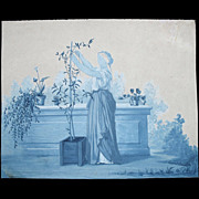 Antique 18th Century C Small French Watercolor Painting Woman in Garden DIVINE!