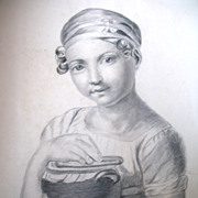Antique Charcoal Drawing French VICTORIAN Large GIRL's Portrait TOTALLY UNIQUE!