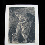 Antique French Impressionistic Miniature Ink Drawing Woman Adjusting Her Stockings 19th C Century Very RARE!