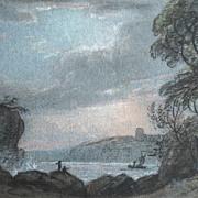 Antique Victorian Seascape Marine Small Pastel Painting 19th C Century DIVINE!