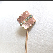 Antique French Napoleon III Rose Gold Stickpin 14k Stick Pin Seed Pearls SUPER CHARMING!