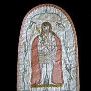 SOLD Antique 18th C Century Nobleman Religious Embroidery Very RARE!