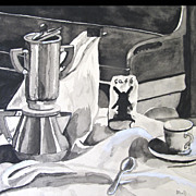 Vintage Late 40s French STILL LIFE Watercolor Painting MID CENTURY Coffee Signed FUN PIECE!