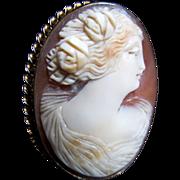 Antique Edwardian 10k GREEK Goddess Cameo Pendant Pin Brooch Massive Gold Setting DIVINE!