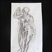 Vintage 30s Art Deco NUDE French Charcoal Drawing Signed RARE!