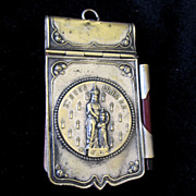 SOLD Antique French Dance ETUI Carnet de Bal With Religious Saint 19th C Century Brittany Sign