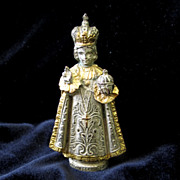 SALE PENDING Antique French Statue Figure of Jesus Infant of Prague 19th C Century RICHLY ORNA
