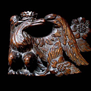 Antique Napoleon French EMPIRE EAGLE With Crown Wood Carving Sculpture Very RARE