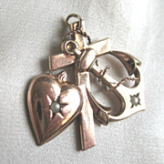 REDUCED VALENTINE! Antique Victorian Pendant French Cross Heart Anchor Seed Pearls Gold Filled