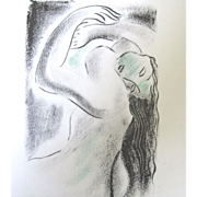 SOLD Vintage 1950s French Nude Print Lithograph OBLIVION Signed FANTASTIC! - Red Tag Sale Item