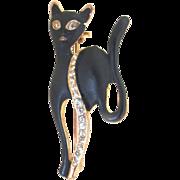 Vintage Animal Pin Brooch Eames 60s Mid Century Black CAT Rhinestones STUNNING!