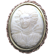 REDUCED Vintage 40s 50s Large FRENCH Cameo Carved Celluloid Rare RENAISSANCE Portrait!