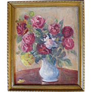 SOLD Vintage Late 40s FRENCH Still Life OIL Painting ROSES Bouquet Framed Signed STUNNING!