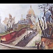 Vintage 50s PARIS Print Litho Montmartre Scene Sacre Coeur SIGNED FANTASTIC !