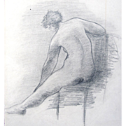Vintage 1920s Art DECO French NUDE Charcoal Drawing Absolutely STUNNING!