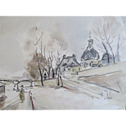 Vintage Edwardian French Watercolor Painting PARIS in Winter Signed DIVINE!