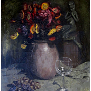 SOLD Antique Edwardian Belgian Oil Painting Still Life Flowers Glass Grapes Signed POWERFUL!