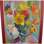 SOLD RESERVED Vintage 1950s French Floral Painting Flowers Bouquet Mid Century Eames LARGE Oil