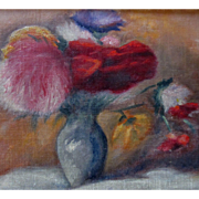 REDUCED VALENTINE! Vintage 1950s French FLORAL Painting Flowers Bouquet Small Oil Signed RARE