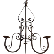 Large French Antique Wrought Iron 3-Light Chandelier