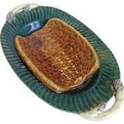 SOLD 19th Century French Antique Majolica Asparagus Tray