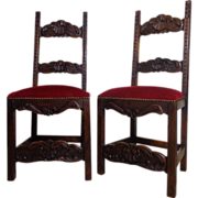Pair of Vintage Spanish Walnut Side Chairs