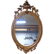 SALE 19th Century French Antique Oval Mirror